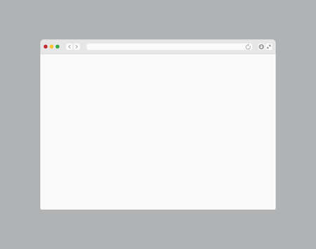 Web browser window. Computer or internet frame template design of flat page mockup. Blank screen web browser Ilustração