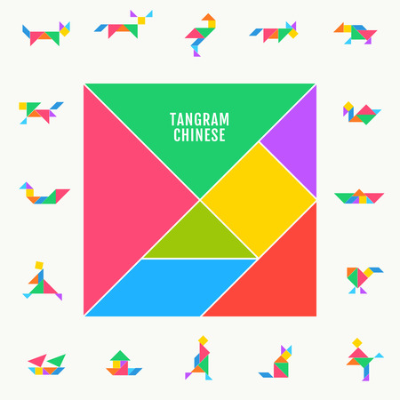 Tangram puzzle square set. Vector triangle geometric tangram template illustration chinese traditional Foto de archivo - 122354745