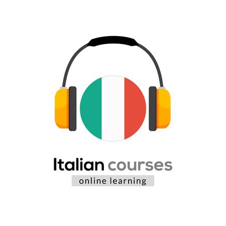 Italian language learning logo icon with headphones. Creative italian class fluent concept speak test and grammar