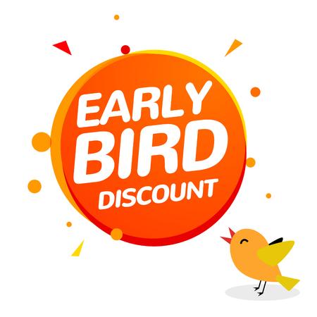Icona di vendita di offerta speciale di vettore di sconto Early bird. Insegna del segno promozionale del fumetto dell'icona del primo uccello