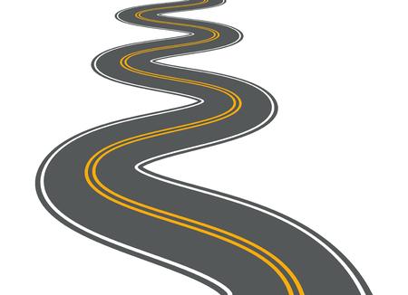 Route sinueuse vecteur chemin d'autoroute longue rue asphalte isolé perspective route chemin voyage illustration Vecteurs