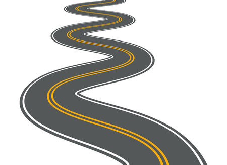 Winding road vector highway path long street asphalt isolated perspective road way journey illustration Çizim
