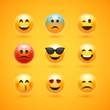 Icône de vecteur de sourire visage émoticône. Personnage de dessin animé d'expression emoji heureux d'émotion.