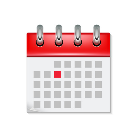 Calendar icon with month time symbol. Flat agenda day reminder event calendar design button. Ilustrace
