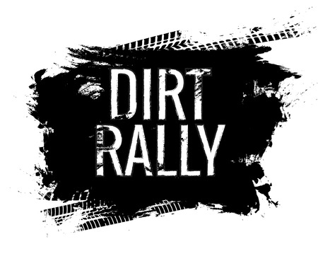 Dirt rally road track tire gringe texture. Motorcycle or car race dirty wheel trail word imprint Zdjęcie Seryjne