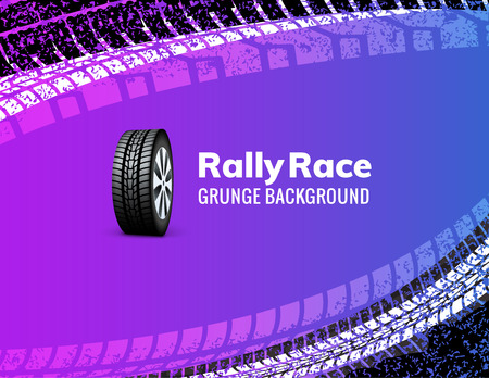 Rally race grunge tire dirt car background. Offroad wheel truck vehicle vector illustration.