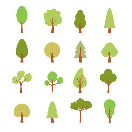 Flat trees set. Flat forest tree nature plant isolated eco foliage