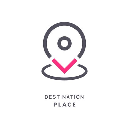 Map pin destination icon. GPS place sign flat vector marker. GPS destination pin sign Ilustracja