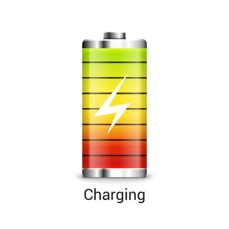 Battery charge full power energy level. Recharge battery indicator icon