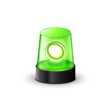 Green flashing police beacon alarm. Police light siren emergency equipment. Danger flash ambulance beacon Çizim