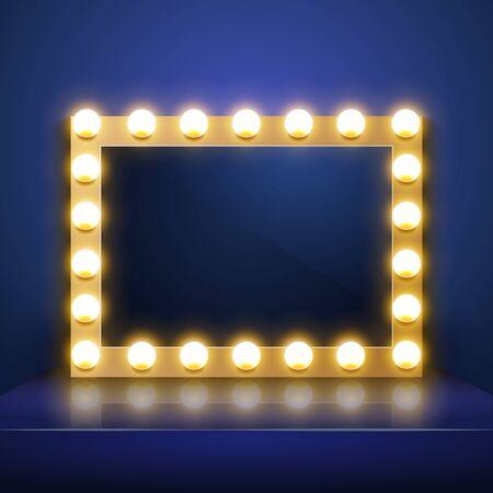 Make up mirror with light. Vector artist dressing room. Make-up mirror Illustration