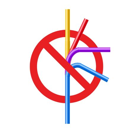 Stop plastic straw tube ban symbol. Ocean pollution plastic drink straw forbidden. Eco bamboo, steel recycle.