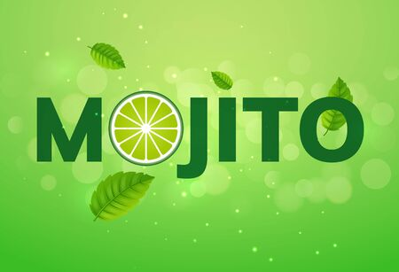 Mojito drink vector cocktail splash. Lemon juice lime soda green advertising mojito drink background illustration.
