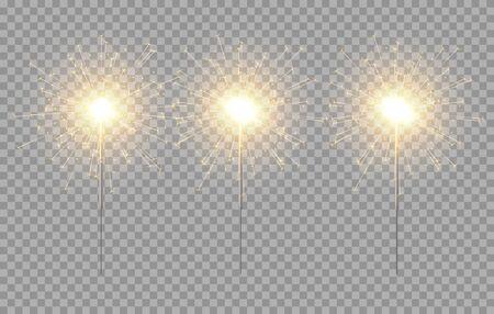 Vector light sparkler decoration. Holiday sparkler firework background isolated bengal bright light. Illustration