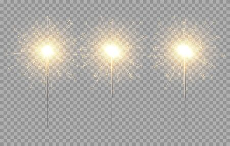 Vector light sparkler decoration. Holiday sparkler firework background isolated bengal bright light. Çizim