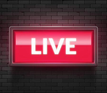 Live light broadcast sign. Tv radio studio live red box on air show icon Ilustración de vector