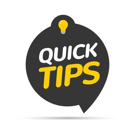 Snelle tips pictogram badge. Top tips advies notitiepictogram. Idee lamp onderwijs trucs.