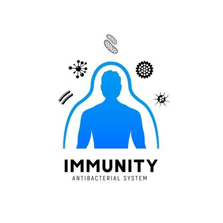 Immunsystem-Vektor-Symbol-Logo. Schutz vor Gesundheitsbakterien. Medizinische Prävention menschlicher Keim
