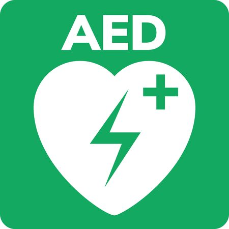 AED symbol icon. Heart first aid defibrillator sign. Automated external device for heart attack logo Ilustrace