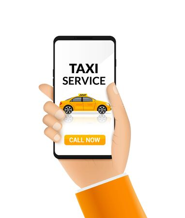 Taxi service app design. Mobile phone order taxi app illustration service driver yellow car Illustration