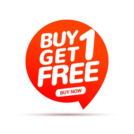 Buy 1 Get 1 Free sale tag. Banner design template for marketing. Special offer promotion or retail