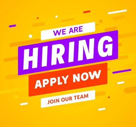 Estamos contratando antecedentes de mensaje de empleado de carrera. Banner de concepto de contratación de trabajo de contratación de empleo