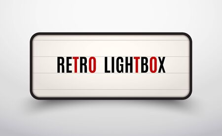 Retro lightbox billboard vintage frame. Vintage banner light box. Cinema or show signboard decoration advertise Vectores