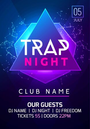Invitación de baile de noche de cartel de música de fiesta. Diseño de flyer de fiesta trampa, banner, plantilla de vida nocturna de club de eventos.