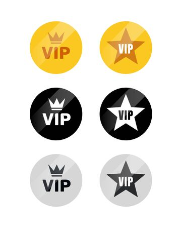 VIP label or tag golden silver design badge. Vector vip emblem sticker attractive set