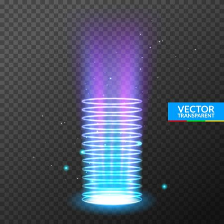 Portal light effect hologram. Magic circle teleport podium. Ufo swirl beam and ray energy funnel Illustration