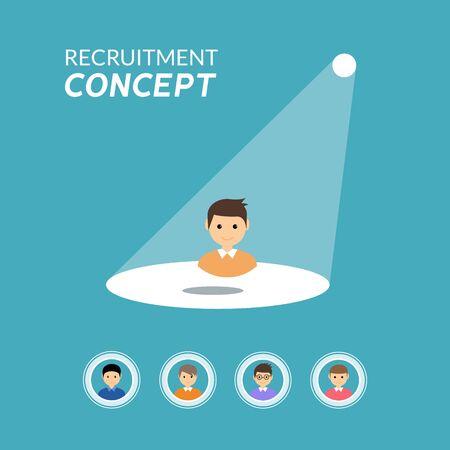 Career recruitment or hiring vector concept. Spotlight looking job, hiring employment Illustration