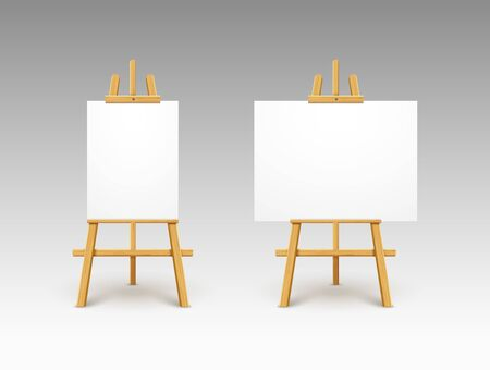 Easel canvas stand vector board isolated. Wooden easel art painting paper frame stand or poster Illustration