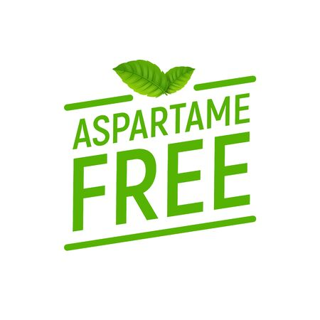 Aspartame free artificial symbol icon. Health product no aspartame sticker stamp, sweetener no sugar.