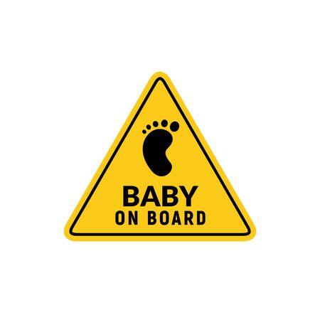 Baby an Bord Zeichensymbol. Warnemblem für Kindersicherheitsaufkleber. Illustration des Babysicherheitsdesigns