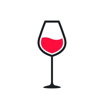 Wine glass cup icon. Red wine symbol pour drink beverage silhouette, glass cup