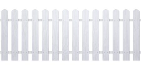 Wooden white fence illustration. Farm wood wall yard, cartoon garden. Timber gate background pattern