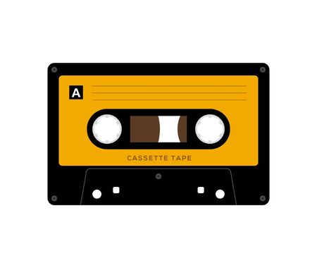 Audio cassette tape isolated vector old music retro player. Retro music audio cassette 80s blank mix