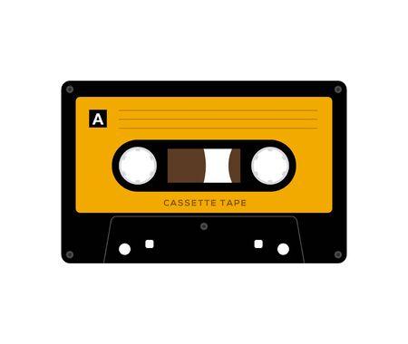 Cinta de cassette de audio aislado vector reproductor retro de música antigua. Cassette de audio de música retro 80 mezcla en blanco