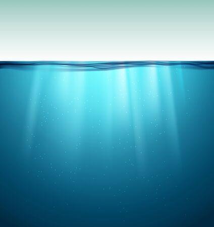 Underwater ocean surface. Blue water background. Clean nature sea underwater backdrop.
