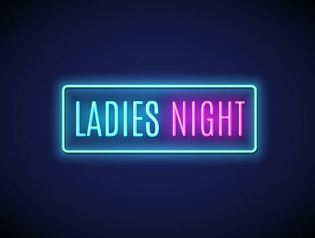Neon night lady fashion invitation sign party flyer. Pink bar or club for girl disco party typography. Illustration