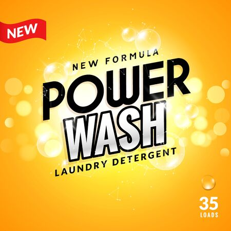 Laundry detergent background design. Clean power powder soap laundry, wash product package design