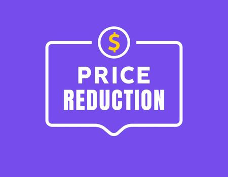 Cost reduction icon dollar. Price decrease arrow symbol. business sale sign illustration