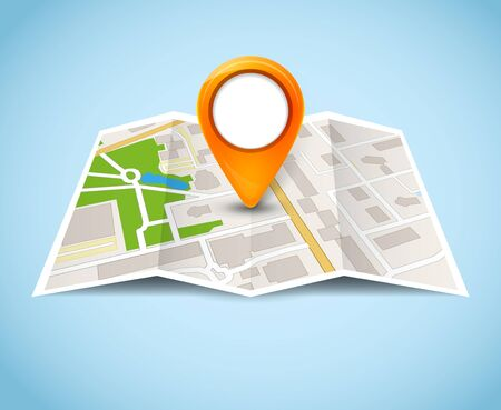 Map gps pin icon vector road. Travel home city street marker. Navigation gps illustration. Ilustracja