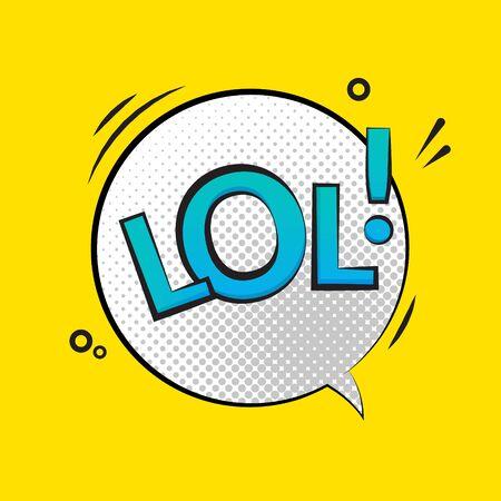 Lol text speech label icon. Pop retro vector tag comic background design Stock Illustratie