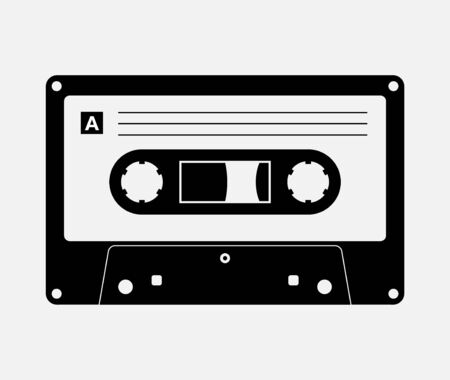 Audio cassette tape isolated vector old music retro player. Retro music audio cassette 80s blank mix Illustration