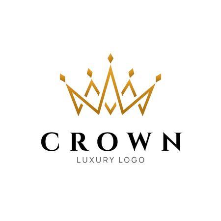 Icône royale de vecteur de roi de logo de couronne. Conception de luxe de symbole de logotype de reine Logo