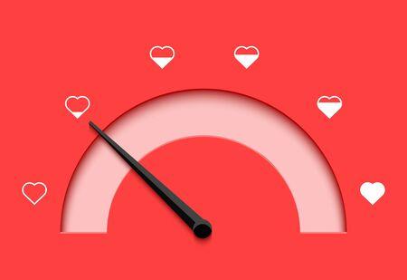 Love meter heart indicator. Love day full test valentine background card progress