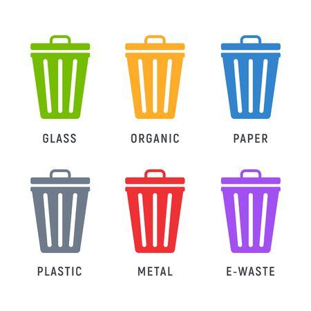 Trash can garbage dustbin waste. Trashcan basket empty bucket  イラスト・ベクター素材