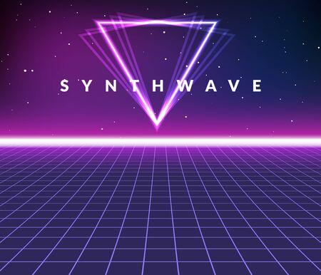Fondo de cuadrícula retro de onda de sintetizador. Synthwave 80s vapor vector juego cartel neón futurista láser espacio arcade