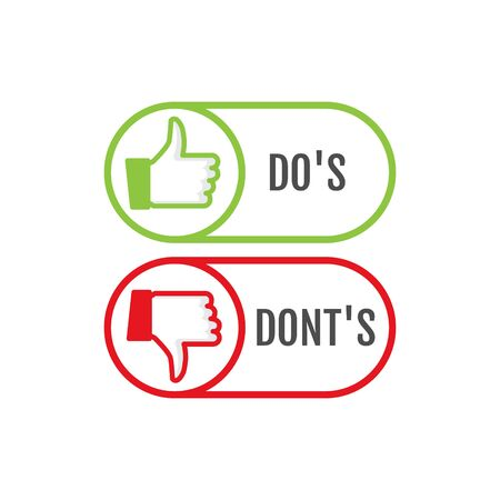 Dos and dont good and bad icon check. Negative positive list, true wrong like anf fail logo